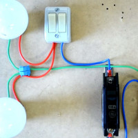 Wiring diagram for a two-gang switch for two bulbs: wiring features