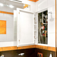 Revision plumbing hatches for the bathroom and toilet: types, placement rules, mounting features