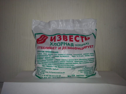 Chlorine lime for disinfection of a well