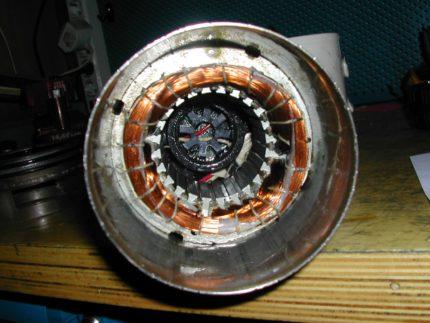 Water pump motor winding