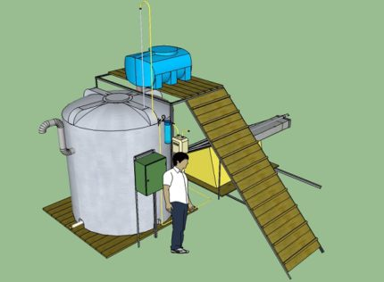 Plant for processing manure into biogas