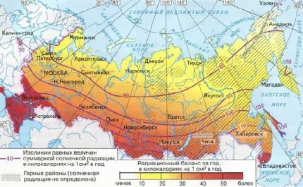 Map of insolation - the solar radiation flux in Russia