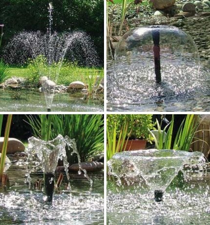 Nozzles of pumps for fountains and falls
