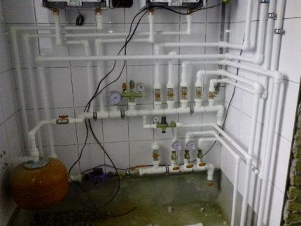 Gas boiler piping