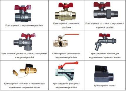 Types et disposition des robinets à eau à boule
