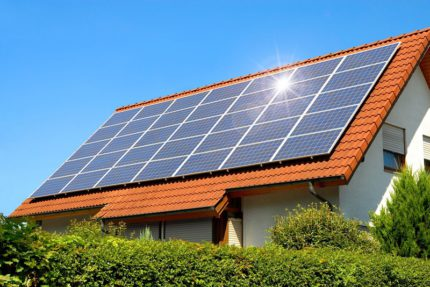 What do solar panels on the roof of a private house look like?