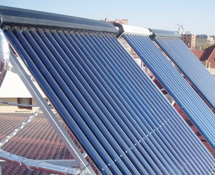 Solar collector for a private house heating system