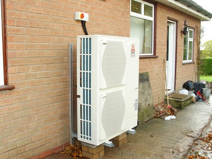 The external circuit of the heat pump air-water