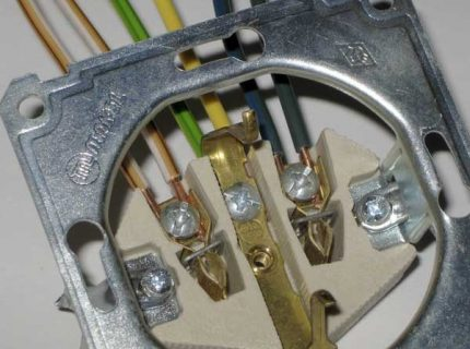 Installing wire in the contact holes