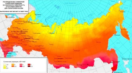 Saulės radiacijos intensyvumo žemėlapis