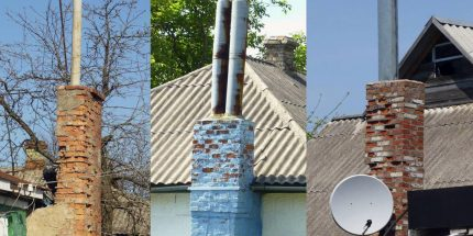 Chimney from asbestos-cement pipes