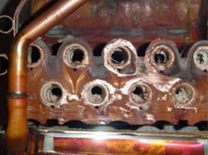 Échelle sur la bobine de la chaudière