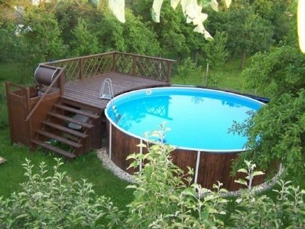 Outdoor pool with playground