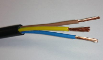 Three cores of a current-carrying wire