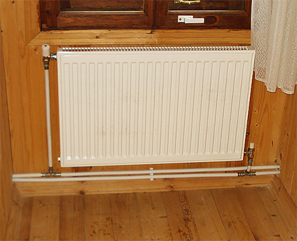 Diagonal radiator connection with two-pipe design