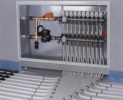 Distribution manifold for underfloor heating