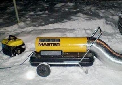 Heat guns against ice caps