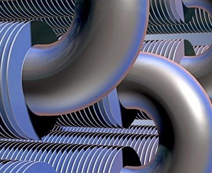 Ribbed tubes in the form of a register