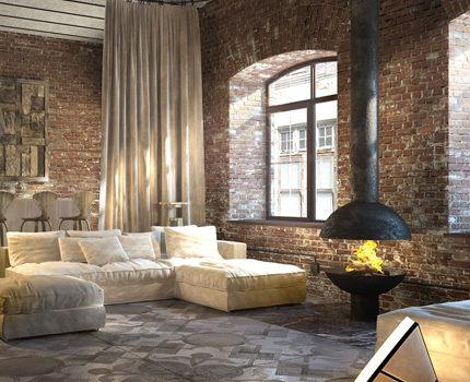 Loft style and heat resistant brick