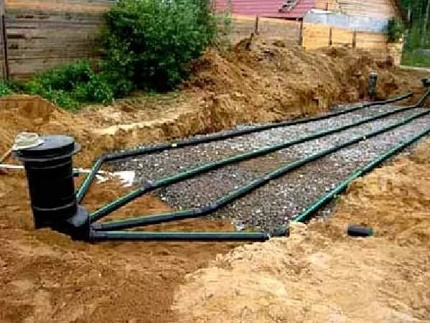 Disposal of sewage after treatment in the septic tank Uponor Sako