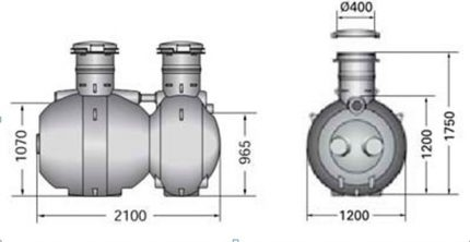 The scheme of the septic tank