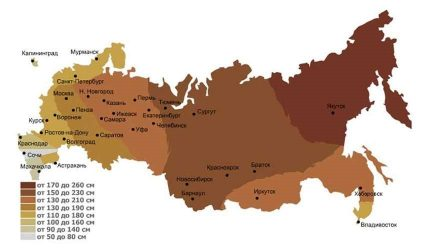 Map of regions by depth of freezing
