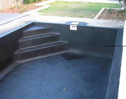Liquid materials for waterproofing pools
