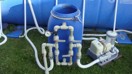 Example piping for pressure filter system