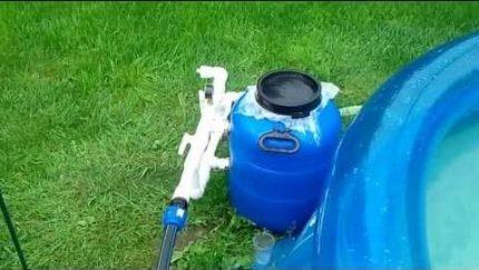 Installed homemade sand filter
