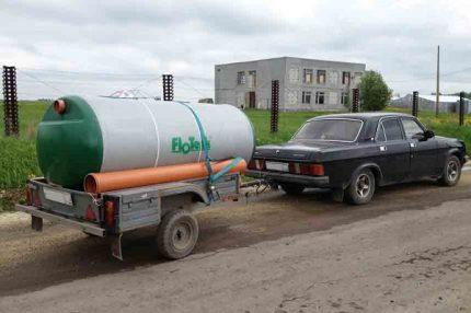 Transportation of septic tank Flotenk