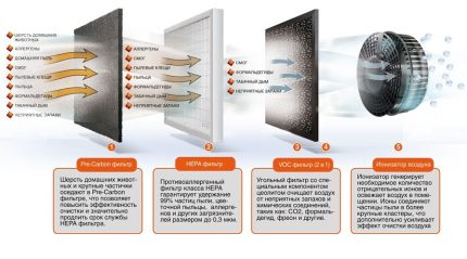 The functioning scheme of the fine cleaning system
