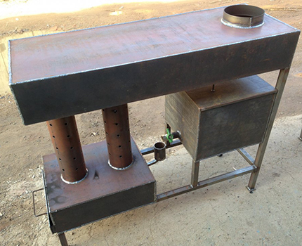 Potbelly stove on development with a water circuit