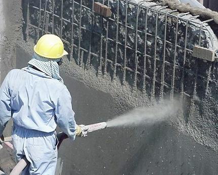 Applying plaster under pressure