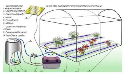 Greenhouse irrigation scheme