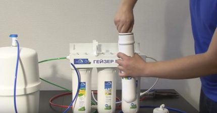 Replacing the cartridges of the reverse osmosis system