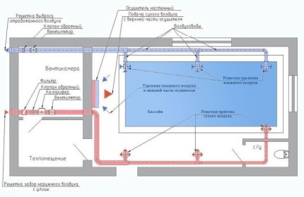 The scheme of supply and exhaust ventilation of the pool