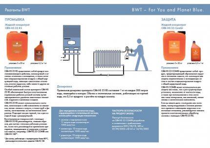 Reaģenti apkures sistēmas ķīmiskai skalošanai