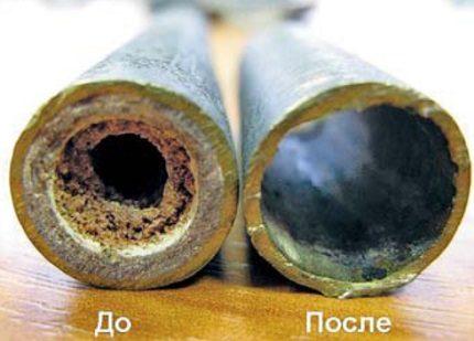 Caurules pēc apkures sistēmas ķīmiskas skalošanas