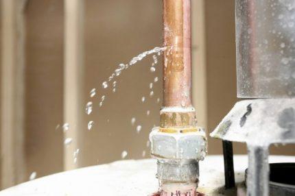 Leaking heating pipe