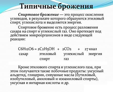 The formula of the process of alcoholic fermentation