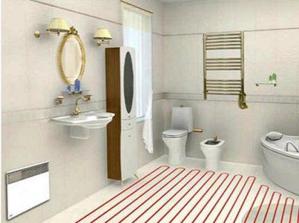 Siltā grīda vannas istabā