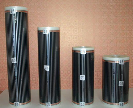 Rolls of underfloor heating of various widths