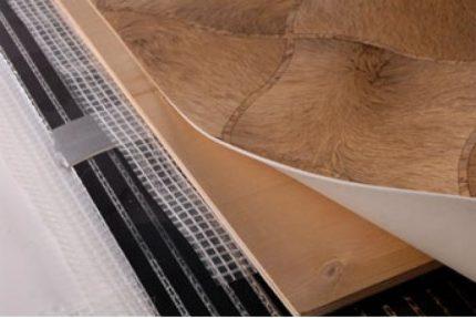 Linoleum on a warm floor
