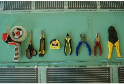 Tools for film underfloor heating