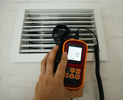 Vilces mērīšana ventilācijas sistēmā