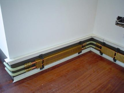 The interior of the warm skirting board