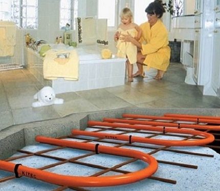 Laying tiles on a water-heated floor