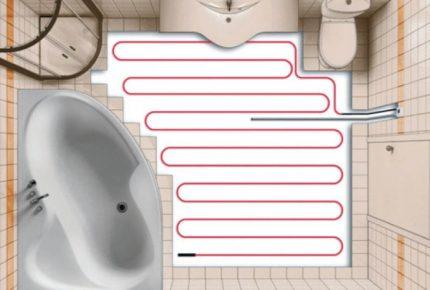 Apkures kabeļi vannas istabā
