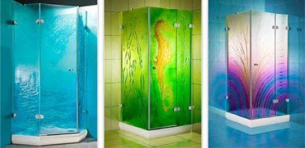 Målat glas duschkabin