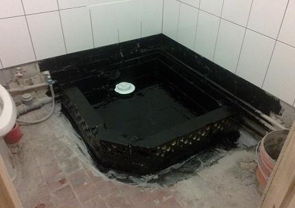 Vattentät golvet i duschen